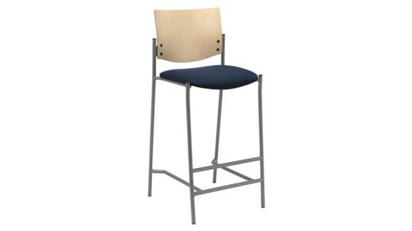 Bar Stools KFI Seating Barstool with Silver Frame and Wood Back