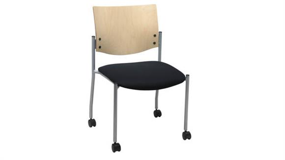 Side & Guest Chairs KFI Seating Side / Guest Chair, Armless with Wood Back and Casters