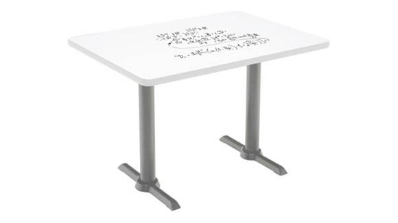 "Activity Tables KFI Seating 30""W x 48""D Pedestal Table with Whiteboard Top & 41""H T-Leg Base"