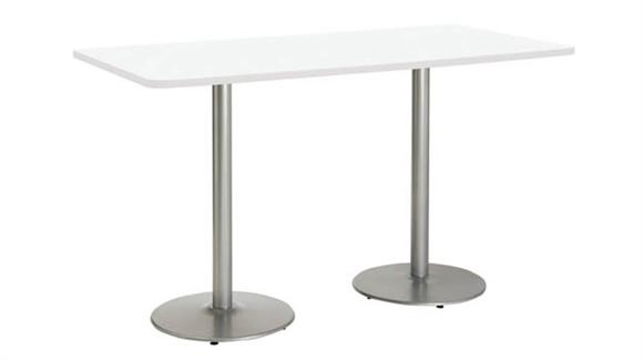 "Cafeteria Tables KFI Seating 30"" x 72"" Breakroom Table, Counter Height, Round Base"