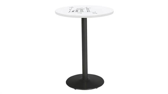 "Activity Tables KFI Seating 30"" Round Pedestal Table with Whiteboard Top & 41""H Round Base"