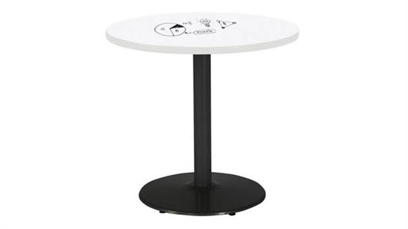 "Activity Tables KFI Seating 30"" Round Pedestal Table with Whiteboard Top & 29""H Round Base"