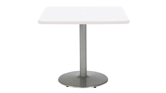 """Cafeteria Tables KFI Seating 30"""" Square Breakroom Table, Counter Height, Round Base"""