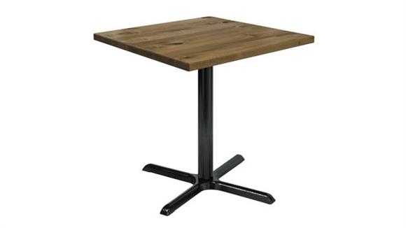 "Cafeteria Tables KFI Seating 30"" Square Vintage Wood Top Table"