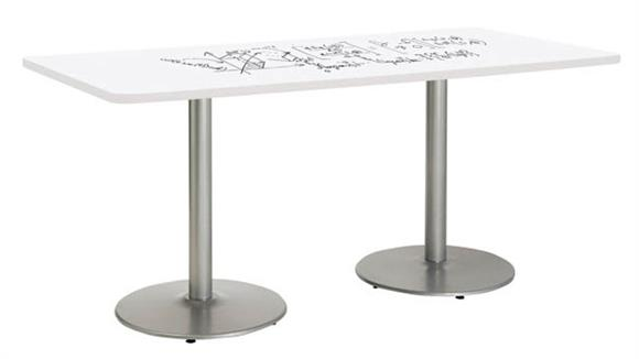 """Activity Tables KFI Seating 36"""" W x 72"""" D Rectangle Pedestal Table with Whiteboard Top & 29""""H Round Base"""