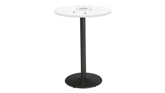 "Activity Tables KFI Seating 36"" Round Pedestal Table with Whiteboard Top & 41""H Round Base"
