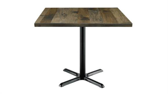"""Cafeteria Tables KFI Seating 42"""" Square Vintage Wood Top Table"""
