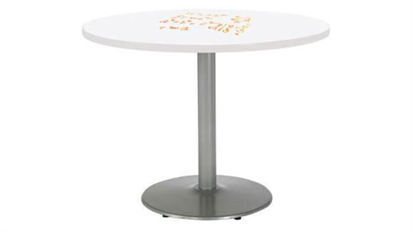 "Activity Tables KFI Seating 42"" Round Pedestal Table with Whiteboard Top & 29""H Round Base"