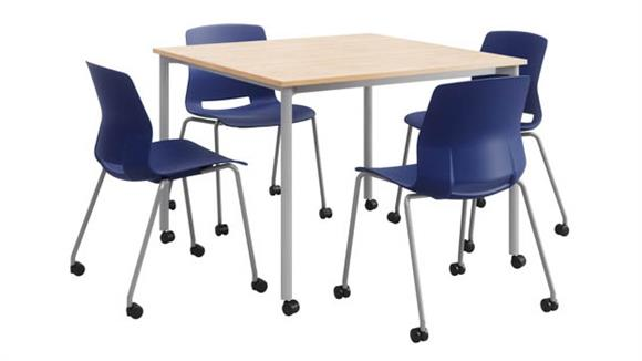 """Cafeteria Tables KFI Seating Mobile 42"""" Square Dining Set with 4 Chairs - Silver Frame"""