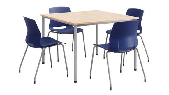 """Cafeteria Tables KFI Seating 42"""" Square Dining Set with 4 Chairs - Silver Frame"""