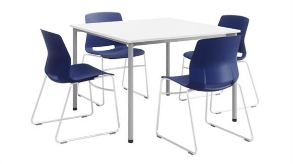 """Cafeteria Tables KFI Seating 42"""" Square Dining Set with 4 Sled Base Chairs"""