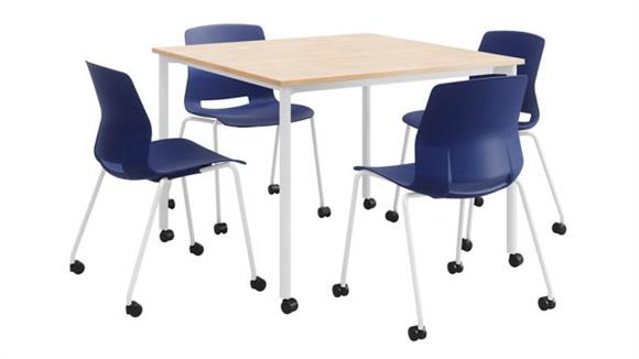 """Cafeteria Tables KFI Seating Mobile 42"""" Square Dining Set with 4 Chairs - White Frame"""
