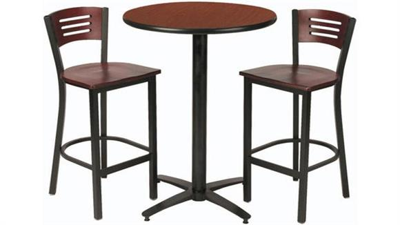 Cafeteria Tables KFI Seating Round Pub Table with 2 Stools