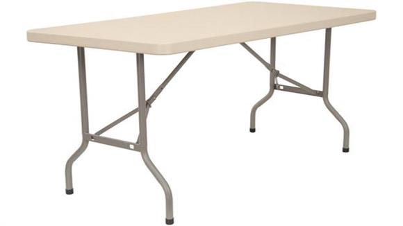 "Folding Tables KFI Seating 30"" x 60"" Blow Molded Folding Table"