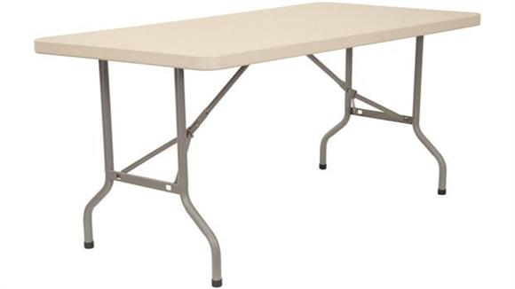 "Folding Tables KFI Seating 30"" x 72"" Blow Molded Folding Table"