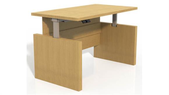 "Adjustable Height Desks & Tables Mayline Office Furniture Height-Adjustable 66"" Straight Front Desk with Base"