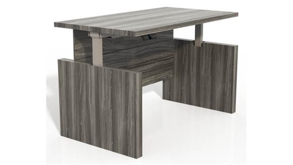 "Adjustable Height Desks & Tables Mayline Office Furniture Height-Adjustable 72"" Straight Front Desk with Base"