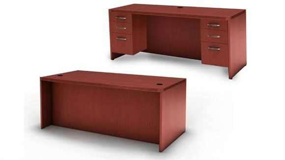 "Executive Desks Mayline Office Furniture 72"" Conference Front Desk with Credenza"