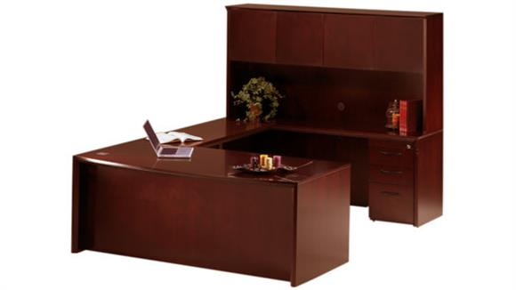 "U Shaped Desks Mayline Office Furniture 72"" Bow Front U Shaped Desk with Hutch"