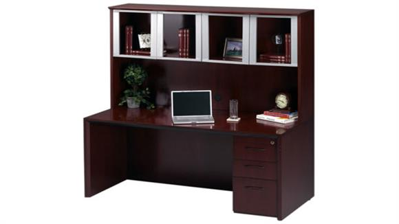 Executive Desks Mayline Office Furniture Wood Desk with Hutch