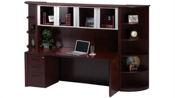 Executive Desks Mayline Office Furniture Wood Desk with Hutch and Bookcase Storage
