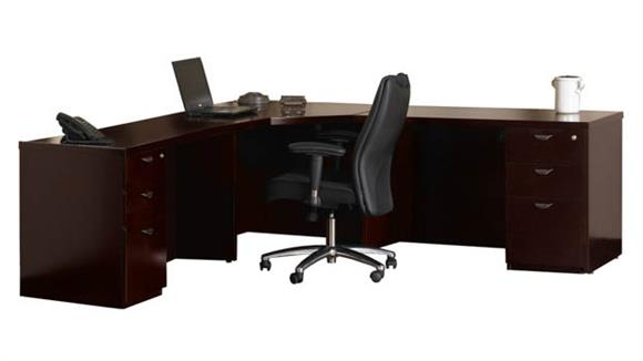 Corner Desks Mayline Office Furniture Double Pedestal Corner Desk