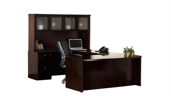 U Shaped Desks Mayline Office Furniture Double Pedestal Bow Front U Shaped Desk with Hutch