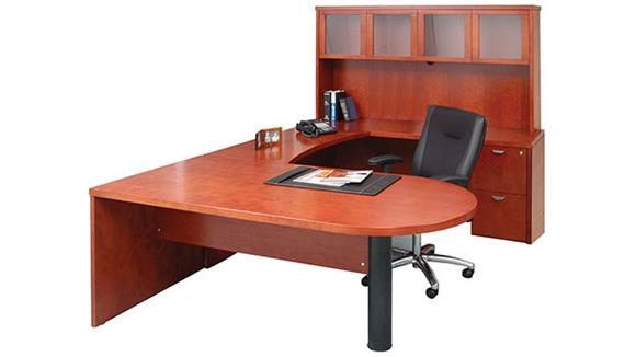 U Shaped Desks Mayline Office Furniture U Shaped Single Pedestal Peninsula Desk with Hutch