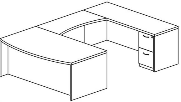 U Shaped Desks Mayline Office Furniture Double Pedestal Bow Front U Shaped Desk