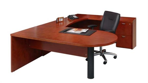 U Shaped Desks Mayline Office Furniture U Shaped Single Pedestal Peninsula Desk