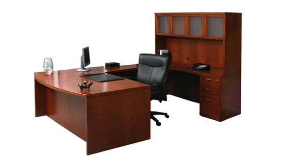 U Shaped Desks Mayline Office Furniture Double Pedestal Bow Front U Shaped Desk with Hutch