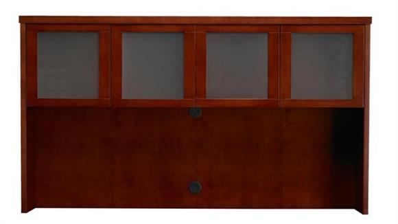 "Hutches Mayline Office Furniture Wood Veneer 70""W Hutch with Glass Doors"