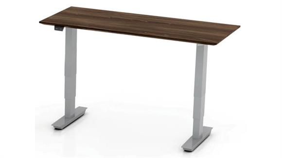 """Adjustable Height Desks & Tables Mayline Office Furniture 48"""" Non-Handed Straight Bridge with 3-Stage Height-Adjustable Base"""