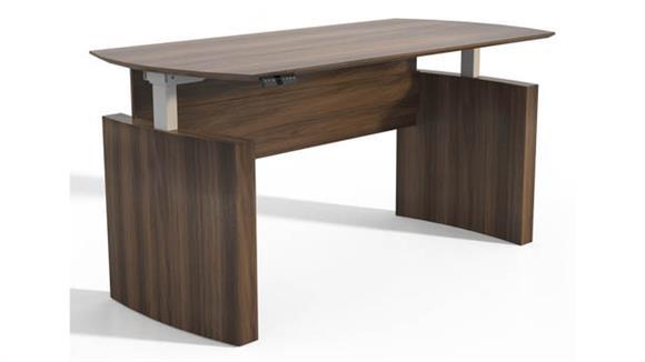 """Adjustable Height Desks & Tables Mayline Office Furniture Height-Adjustable 63"""" Curved Front Desk"""