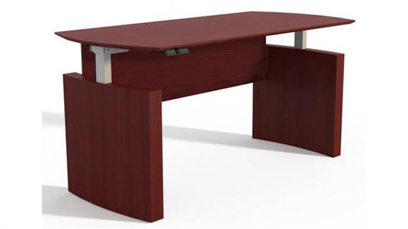 """Adjustable Height Desks & Tables Mayline Office Furniture Height-Adjustable 72"""" Curved Front Desk"""