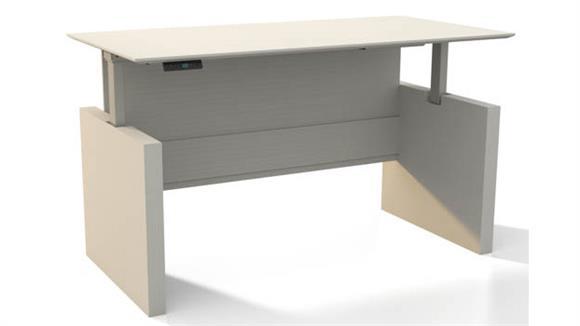 "Adjustable Height Desks & Tables Mayline Office Furniture Height-Adjustable 63"" Straight Front Desk"