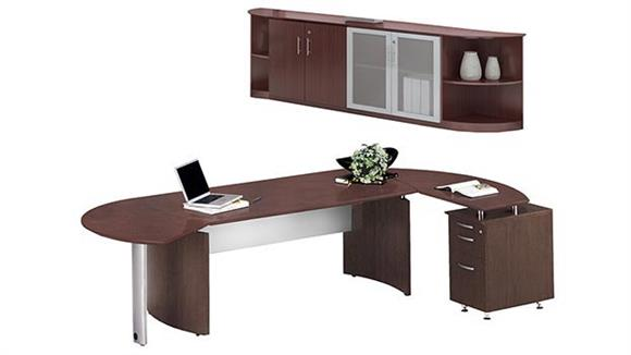 """Executive Desks Mayline Office Furniture 72"""" Desk with Return and Low Wall Cabinet"""