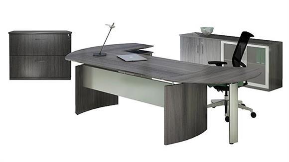 "Executive Desks Mayline Office Furniture 72"" Desk with Return and Additional Storage"
