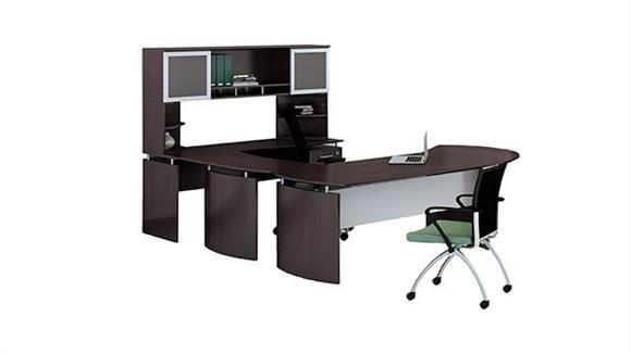 "U Shaped Desks Mayline Office Furniture 63"" U Shaped Desk with Extension and Hutch"