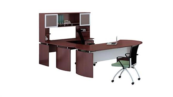 "U Shaped Desks Mayline Office Furniture 63"" U Shaped Desk with Extension and Hutch"