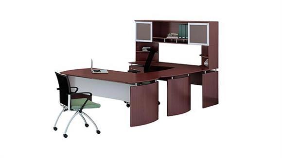 "U Shaped Desks Mayline Office Furniture 72"" U Shaped Desk with Hutch"