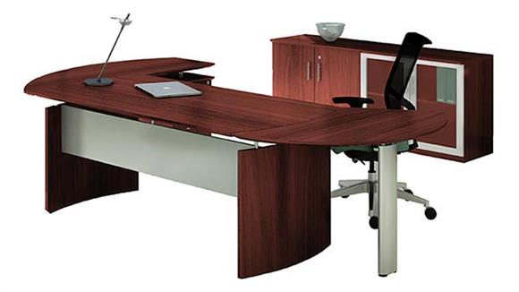"""Executive Desks Mayline Office Furniture 63"""" Desk with Return and Low Wall Cabinet"""