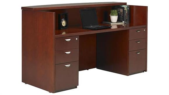 Reception Desks Mayline Office Furniture Double Pedestal Reception Station