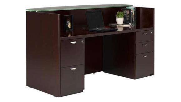 Reception Desks Mayline Office Furniture Double Pedestal Wood Veneer Reception Desk with Glass Top