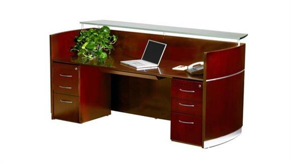 Reception Desks Mayline Office Furniture Double Pedestal Napoli Reception Station