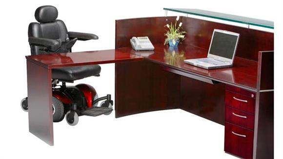 Reception Desks Mayline Office Furniture Reception Station with One Pedestal