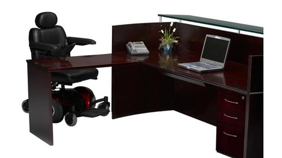Reception Desks Mayline Office Furniture Reception Station with One Pedestal