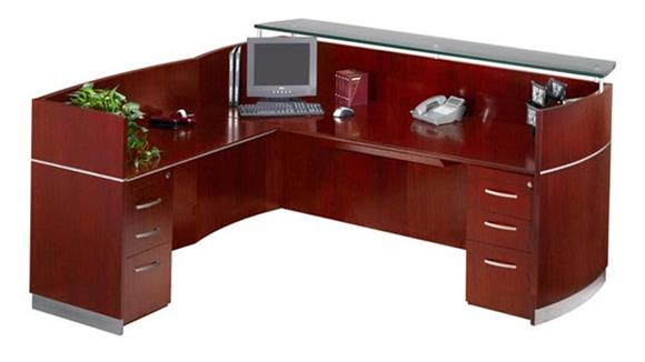Reception Desks Mayline Office Furniture Reception Station with Two Pedestals
