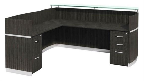 Reception Desks Mayline Office Furniture Napoli Reception Station with Return