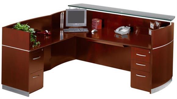Reception Desks Mayline Office Furniture Double Pedestal L Shaped Napoli Reception Station  8